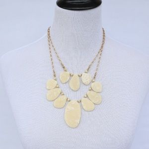 2 Tier Genuine Glass And Stone Cream Necklace